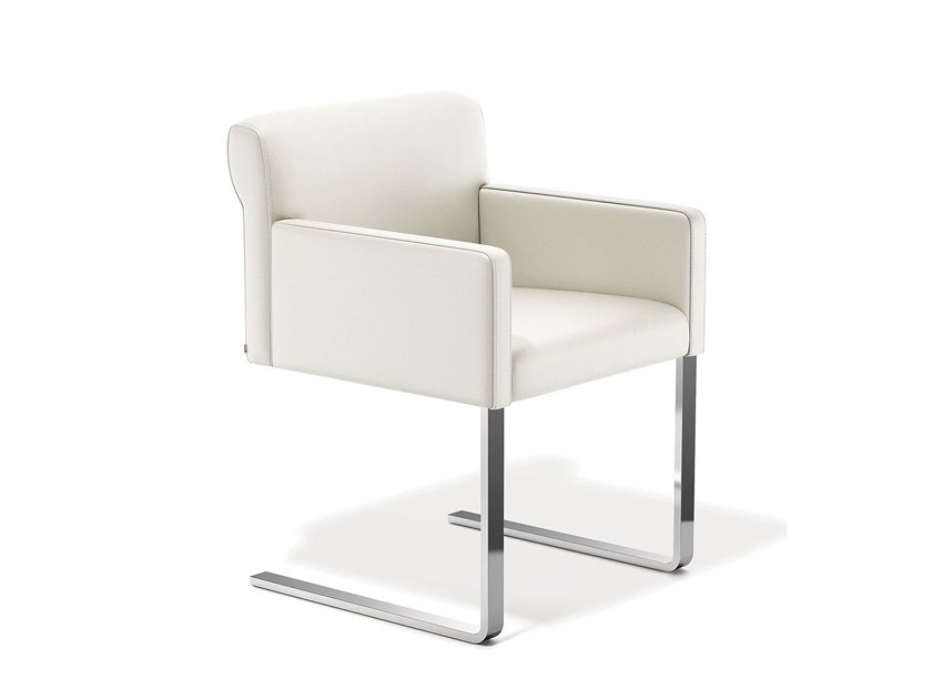 Cantilever leather chair with armrests QUANT | Chair with armrests by COR