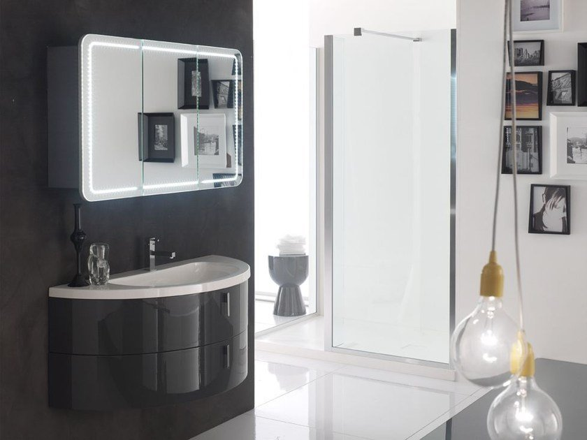 Lacquered single vanity unit QUANTUM - COMPOSITION 3 by Arcom