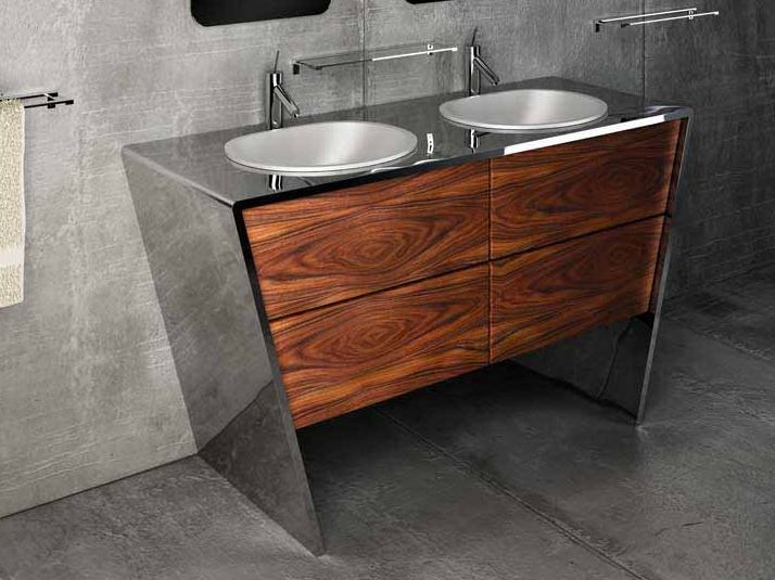 Double stainless steel and wood vanity unit QUATTORDICI | Double vanity unit by Componendo