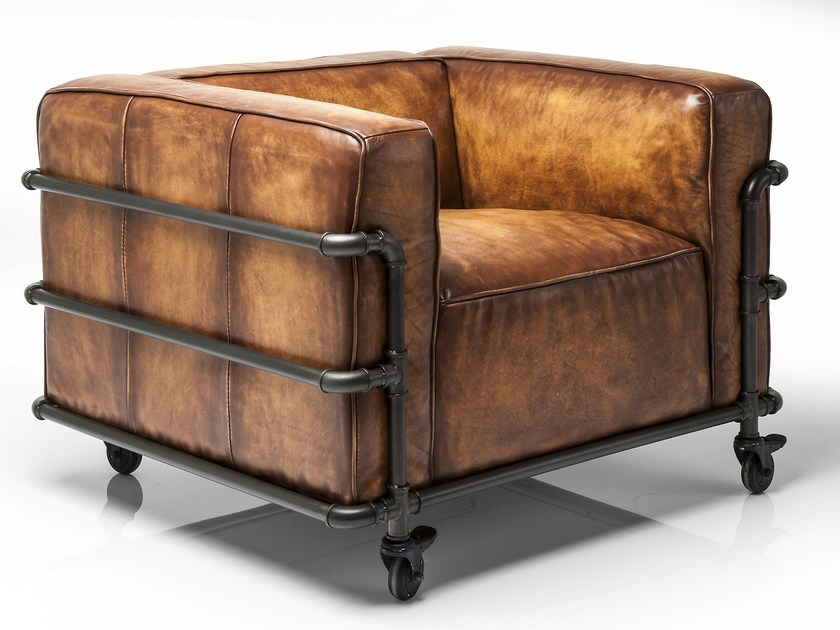 Leather armchair with armrests with casters QUATTRO by KARE-DESIGN