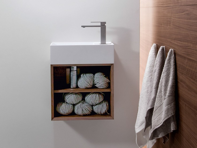 Wall-mounted Ceramilux® handrinse basin QUATTRO.ZERO | Handrinse basin by FALPER