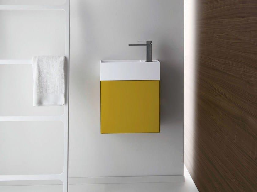 Wall-mounted Ceramilux® handrinse basin QUATTRO.ZERO | Wall-mounted handrinse basin by FALPER