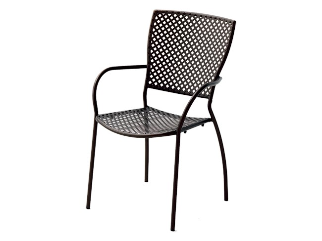 Stackable galvanized steel chair with armrests QUEEN by RD Italia