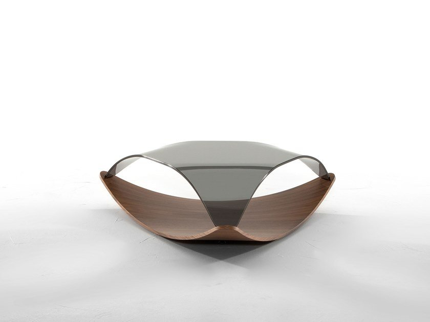 Low triangular wood and glass coffee table QUIET by Tonin Casa