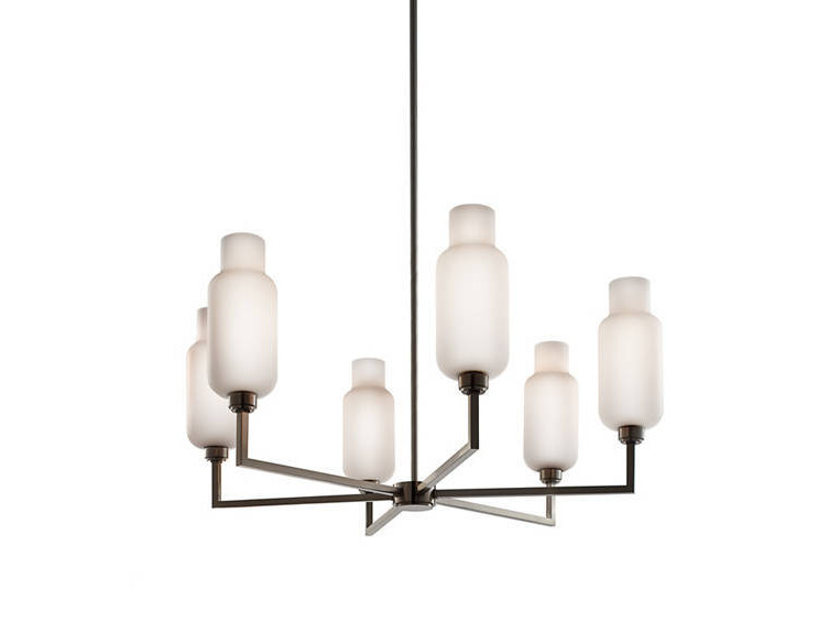 Direct Light Blown Glass Chandelier Quill 6 By Niche Modern