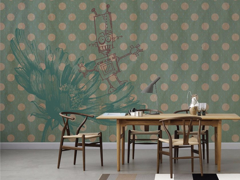 Dotted panoramic wallpaper R-HOBBY by Inkiostro Bianco
