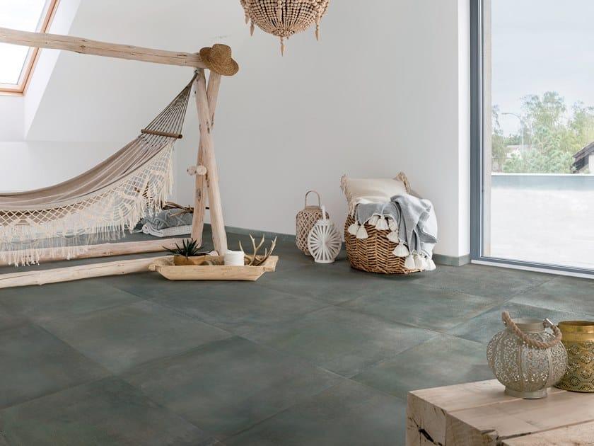 Pavimento in gres porcellanato effetto pietra RA-KU PETROL by La Fabbrica