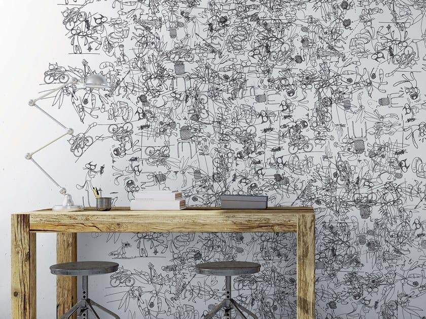 Contemporary style motif rubber wallpaper RABBICATS by Tecnografica