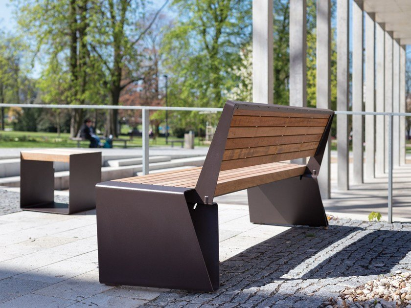 Steel and wood Bench RADIUM | Steel and wood Bench by mmcité1