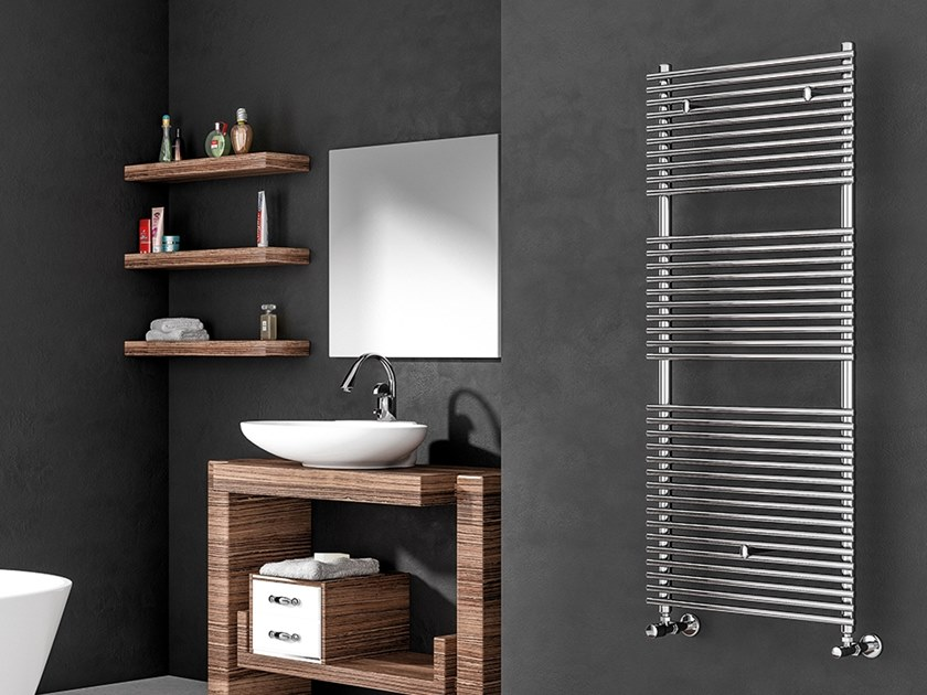 Vertical wall-mounted towel warmer RADIUS by XÒ by Metalform