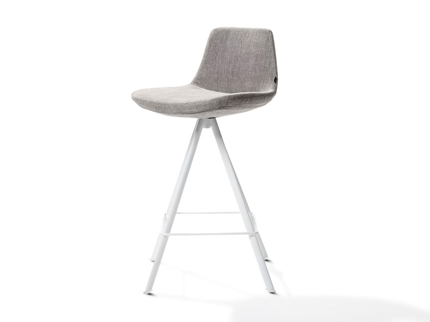 Upholstered trestle-based fabric stool RAFAEL | Fabric stool by Joli