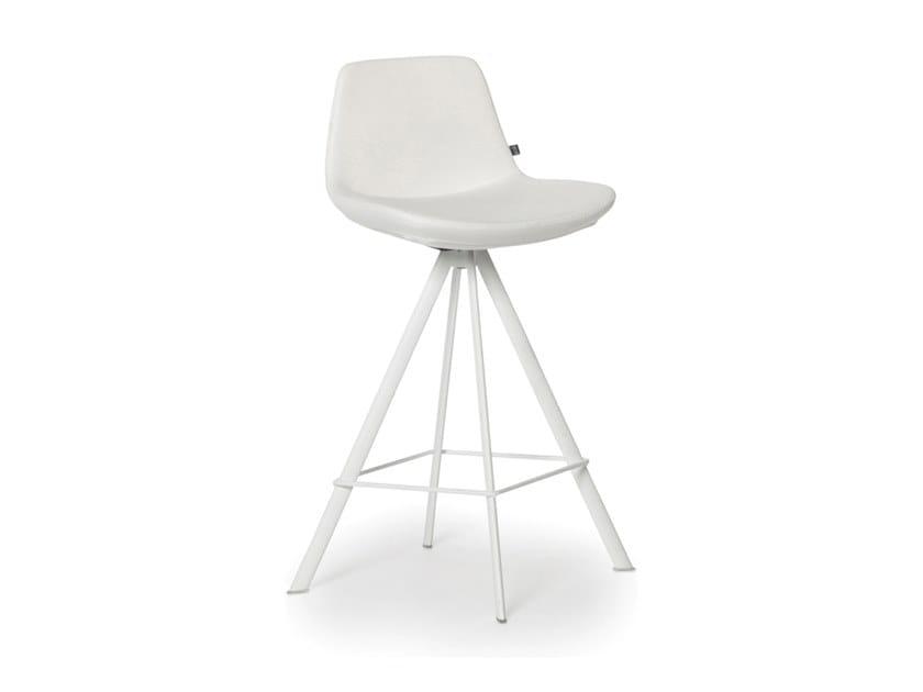 Upholstered trestle-based Eco-leather stool RAFAEL | Eco-leather stool by Joli