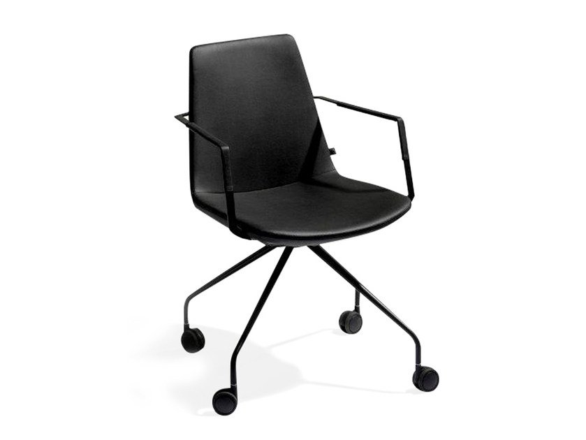 Trestle-based imitation leather task chair with casters RAFAËL | Task chair by Joli