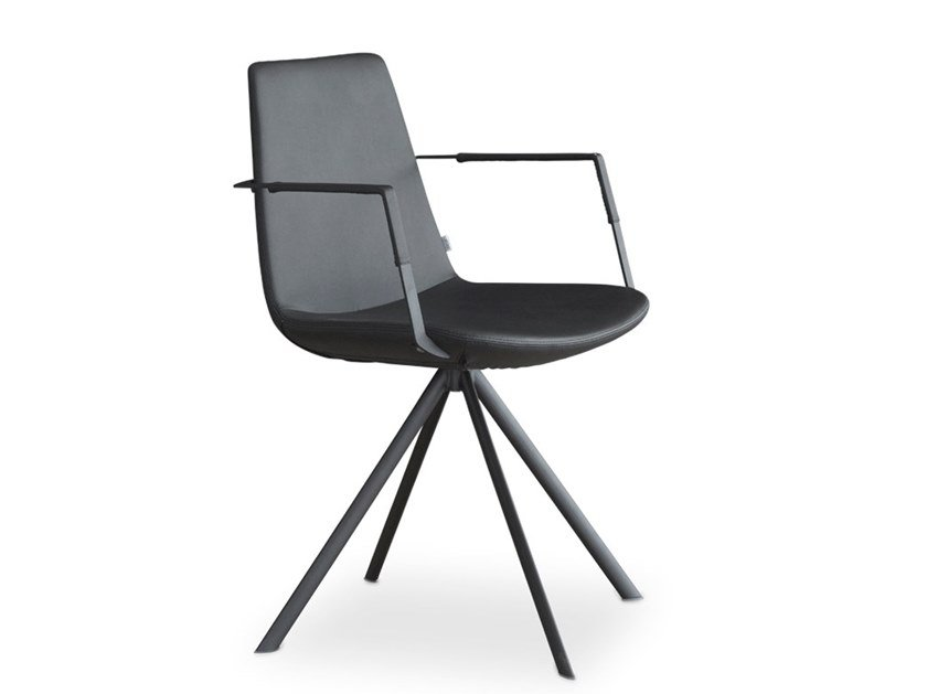 Trestle-based Eco-leather chair with armrests RAFAEL | Trestle-based chair by Joli