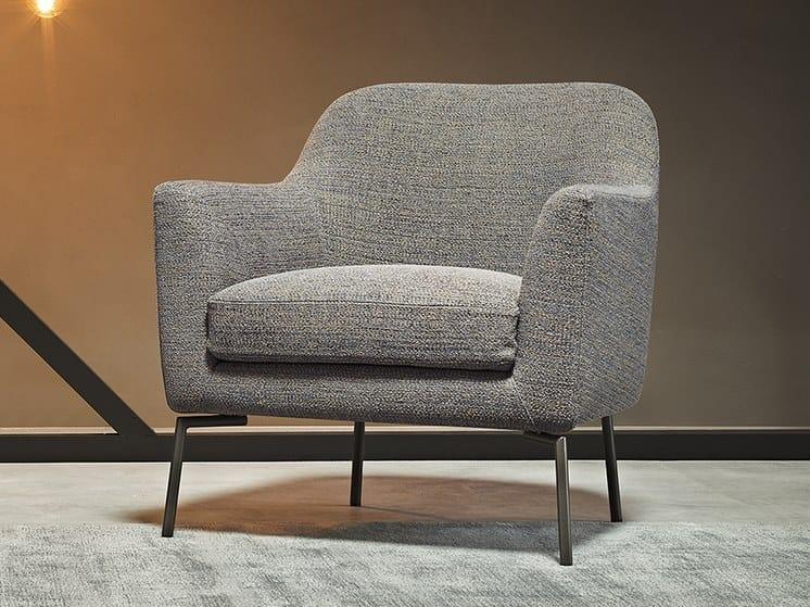 Fabric easy chair with armrests RAFFAELLA | Fabric easy chair by Metraform
