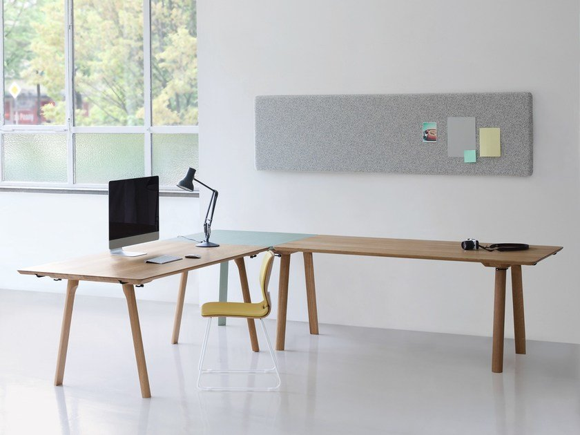 L-shaped lacquered wooden office desk RAIL | L-shaped office desk by ZEITRAUM
