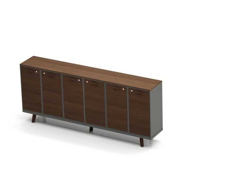 Oak office storage unit with hinged doors with lock RAIL   Office storage unit with hinged doors by Bralco