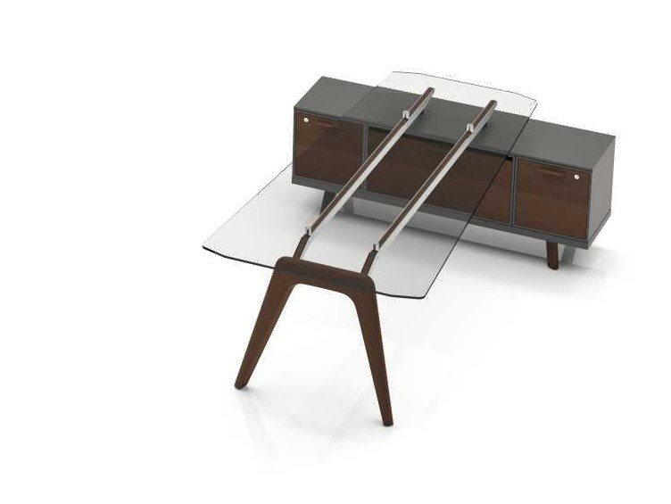 Contemporary style wooden meeting table RAIL | Trapezoidal glass table by Bralco