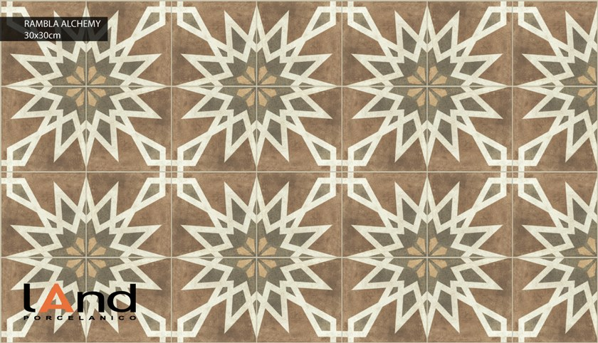 Technical porcelain flooring with encaustic effect RAMBLA ALCHEMY by Land Porcelanico