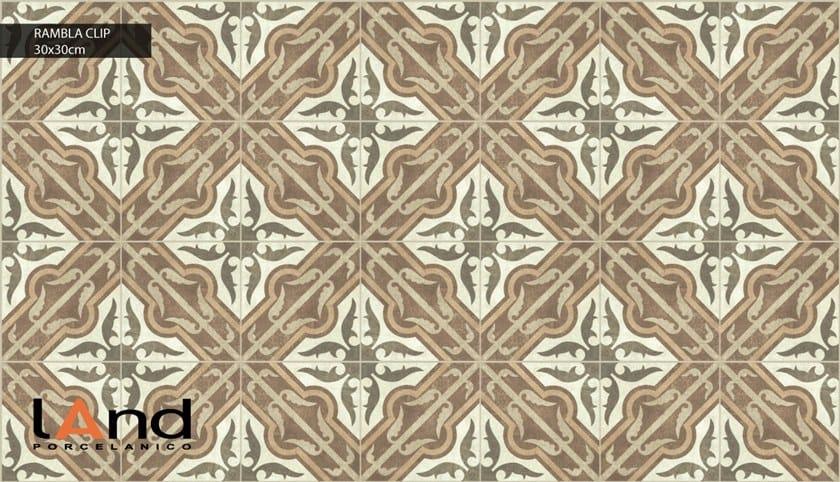 Technical porcelain flooring with encaustic effect RAMBLA CLIP by Land Porcelanico
