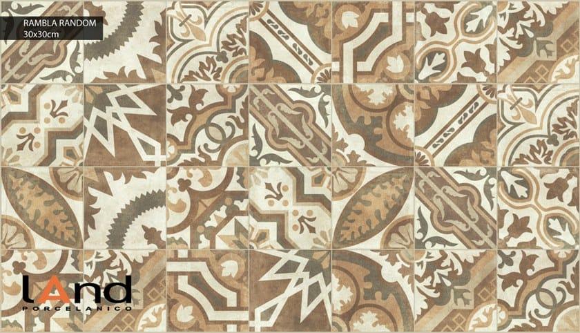 Pavimento in gres porcellanato tecnico effetto cementine RAMBLA RANDOM by Land Porcelanico