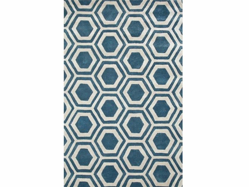 Rug with geometric shapes RANCHO TAQ-378 Aegean Blue/Antique White by Jaipur Rugs