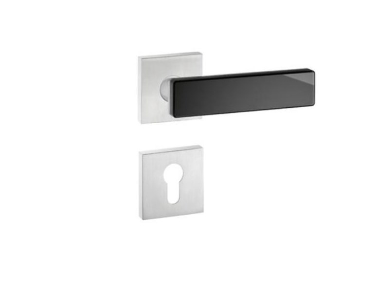 Glass and Stainless Steel door handle on rose RANGE 180 | Glass and Stainless Steel door handle by HEWI