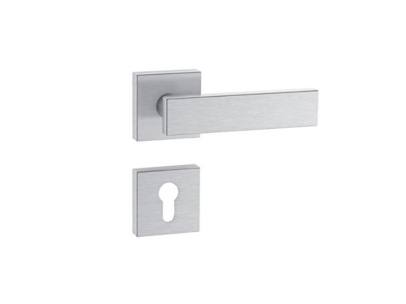 Stainless steel door handle on rose RANGE 180 | Stainless steel door handle by HEWI
