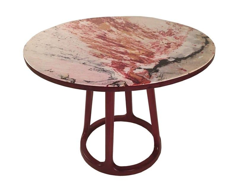 Round solid wood table RANGI by ALANKARAM