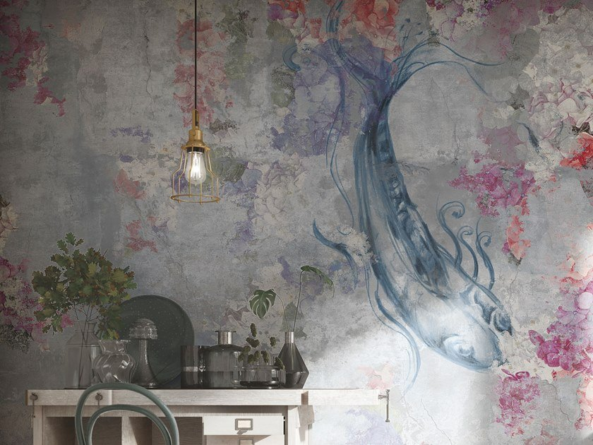 Japanese style glass-fibre wallpaper with floral pattern RAPSODIA IN BLU by Tecnografica