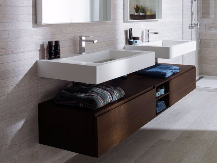 Rectangular Krion® washbasin with integrated countertop RAS | Washbasin with integrated countertop by Systempool
