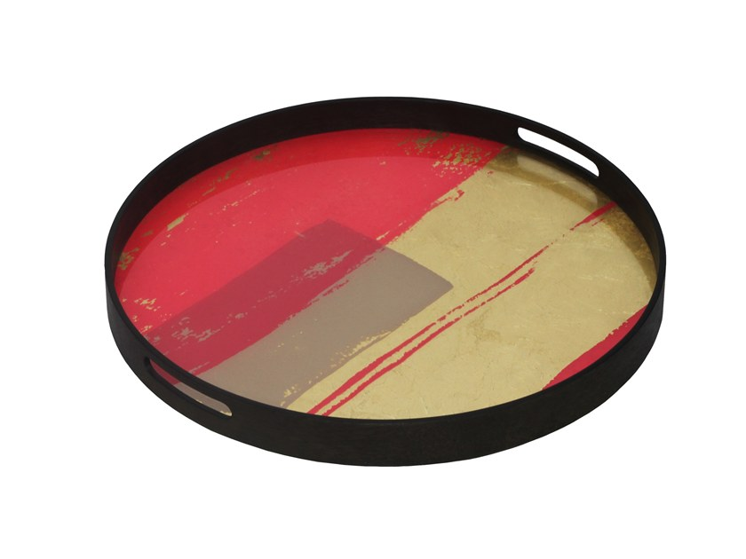 Round glass tray RASPBERRY ABSTRACT by Notre Monde