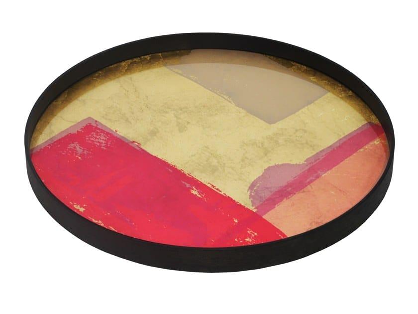 Round glass tray RASPBERRY LANDSCAPE by Notre Monde