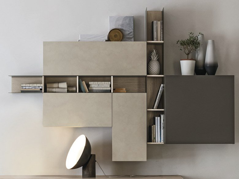 Open metal wall cabinet with door RASTER   Wall cabinet by Gruppo Tomasella