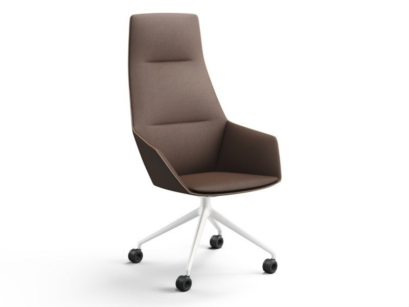 Trestle-based fabric executive chair with armrests RAY SOFT | Executive chair with casters by Brunner