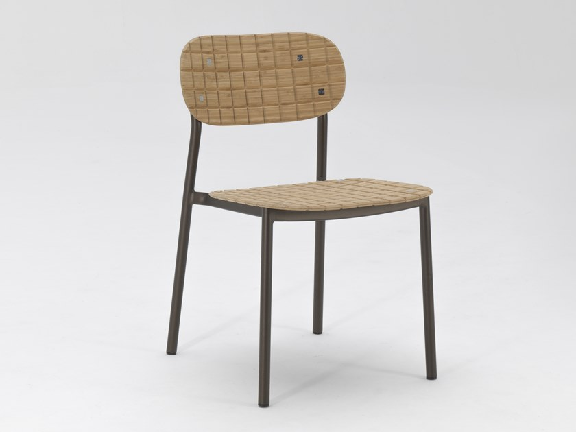Aluminium and wood garden chair RE-WOOD by emu