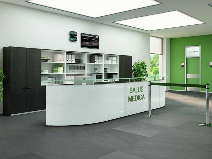 Modular wooden Office reception desk MEDICAL 2 by Bralco