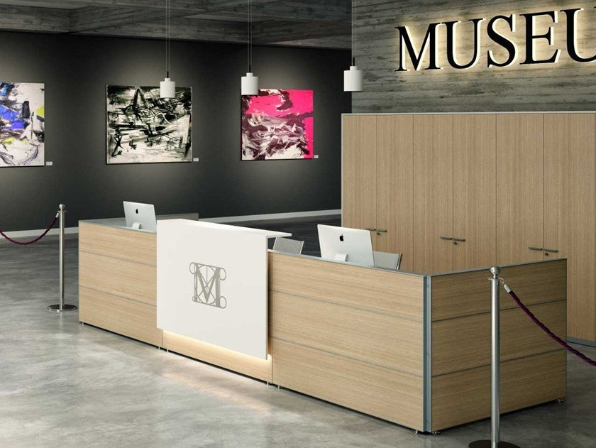 Modular wooden Office reception desk INSTITUTIONAL by Bralco