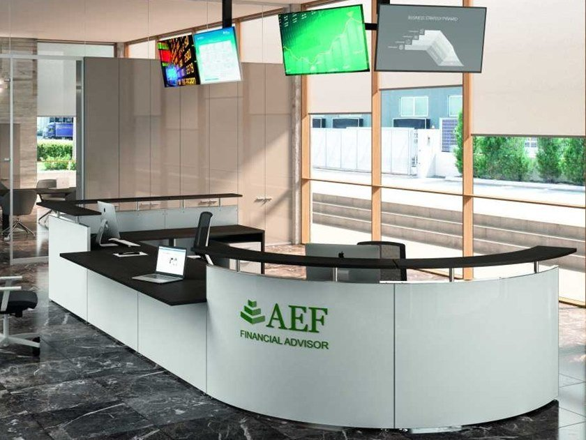 Modular wooden Office reception desk FINANCE by Bralco
