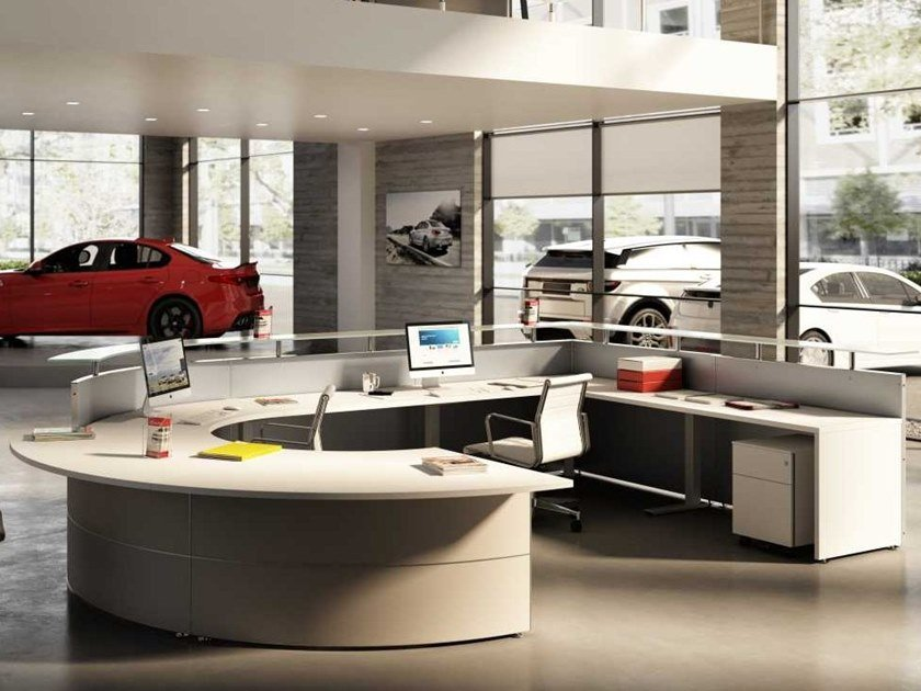 Modular wooden Office reception desk CAR DEALERSHIP by Bralco