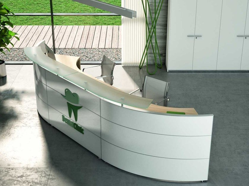 Modular wooden Office reception desk MEDICAL 1 by Bralco