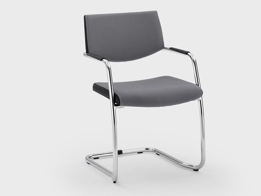 Cantilever fabric reception chair with armrests LOGIKA   Reception chair by Viganò