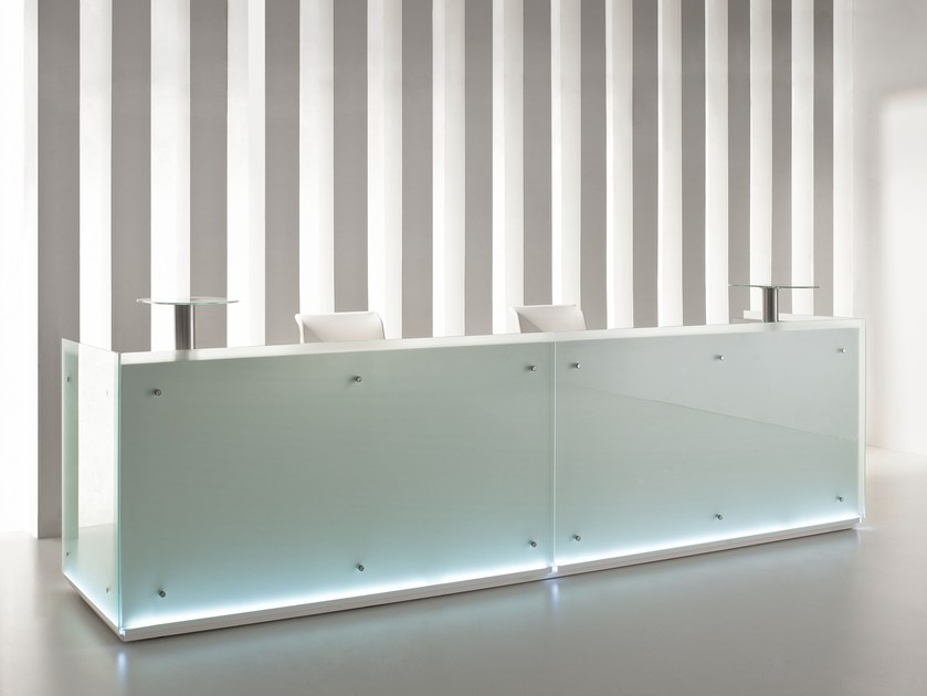 Modular glass Reception desk with Built-In Lights FURONTO | Reception desk by BALMA