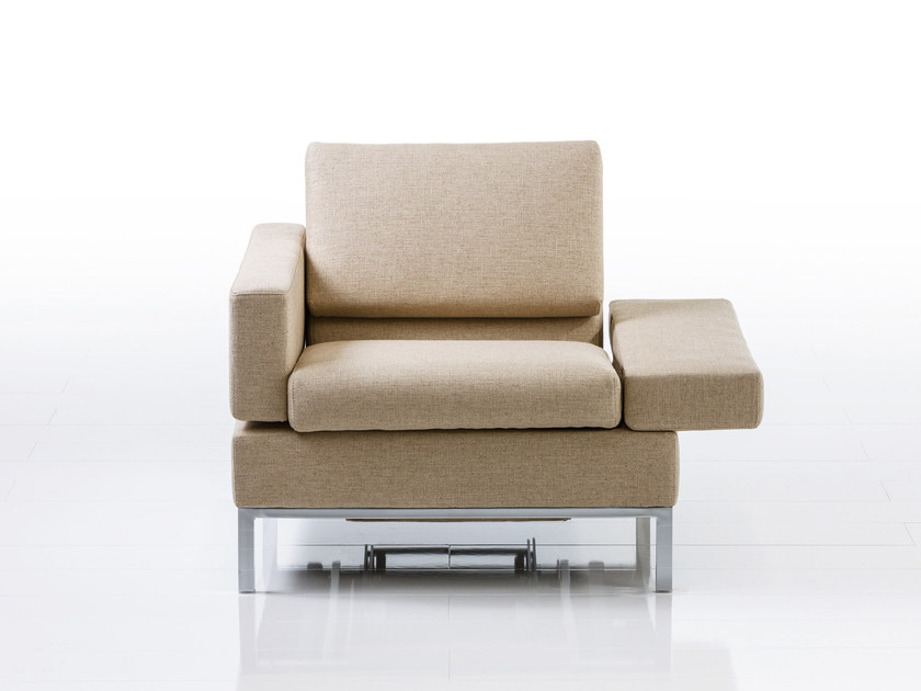 Recliner fabric armchair with armrests TOMO | Recliner armchair by brühl