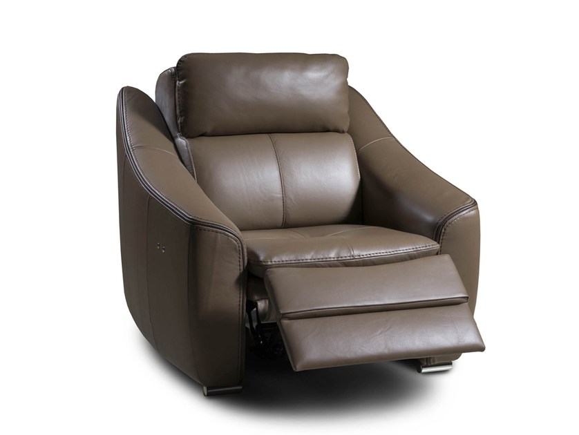 Recliner leather armchair with armrests DAKOTA | Recliner armchair by Nieri