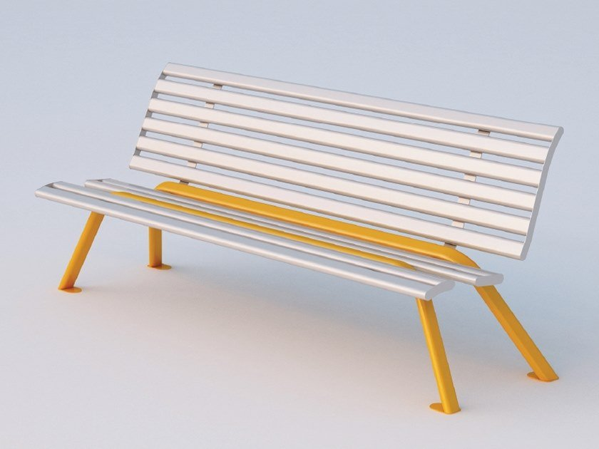 Galvanized steel Bench with back RECORD   Bench by DIMCAR