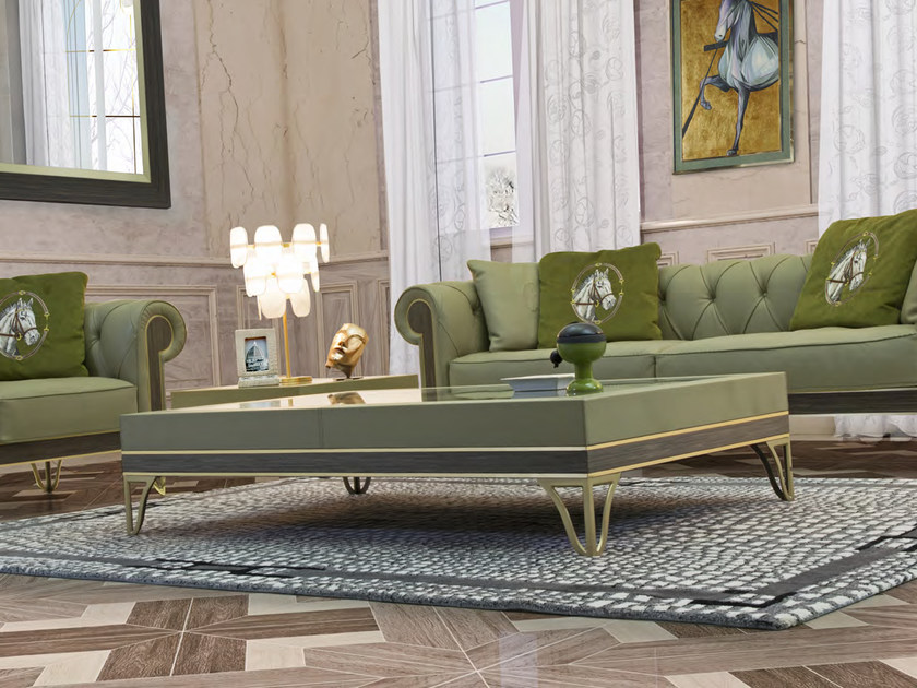 Rectangular leather coffee table for living room GRANADA | Rectangular coffee table by Formitalia