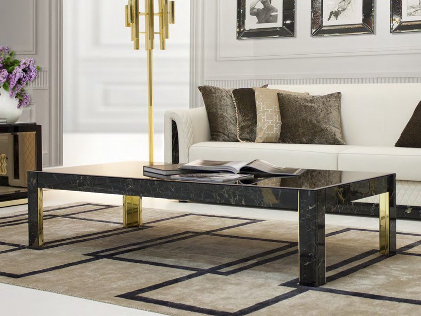 Low rectangular marble coffee table for living room ROYAL | Rectangular coffee table by Formitalia