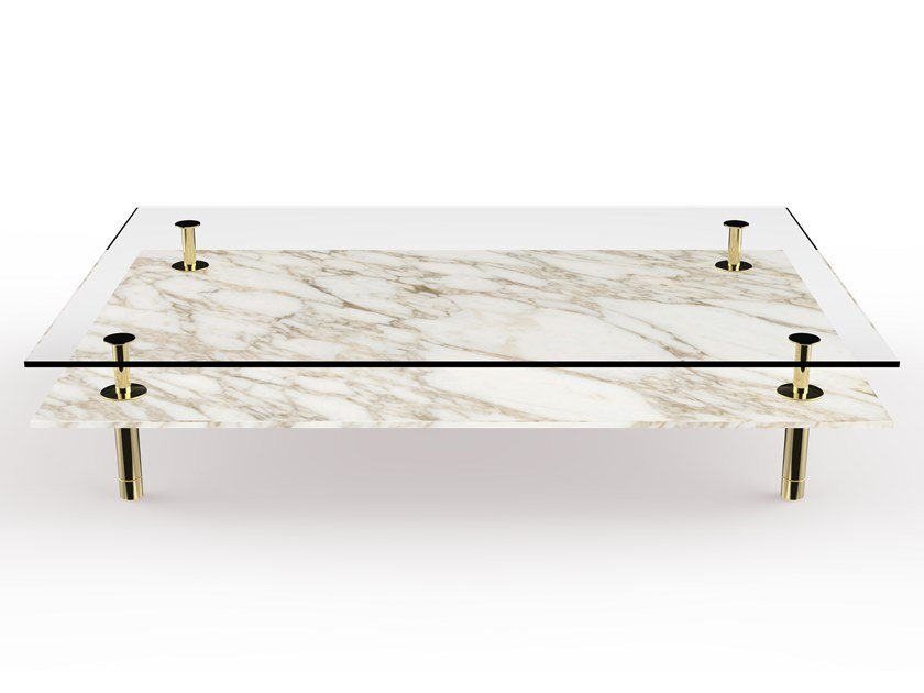 Rectangular marble coffee table LEGS | Rectangular coffee table by GHIDINI1961