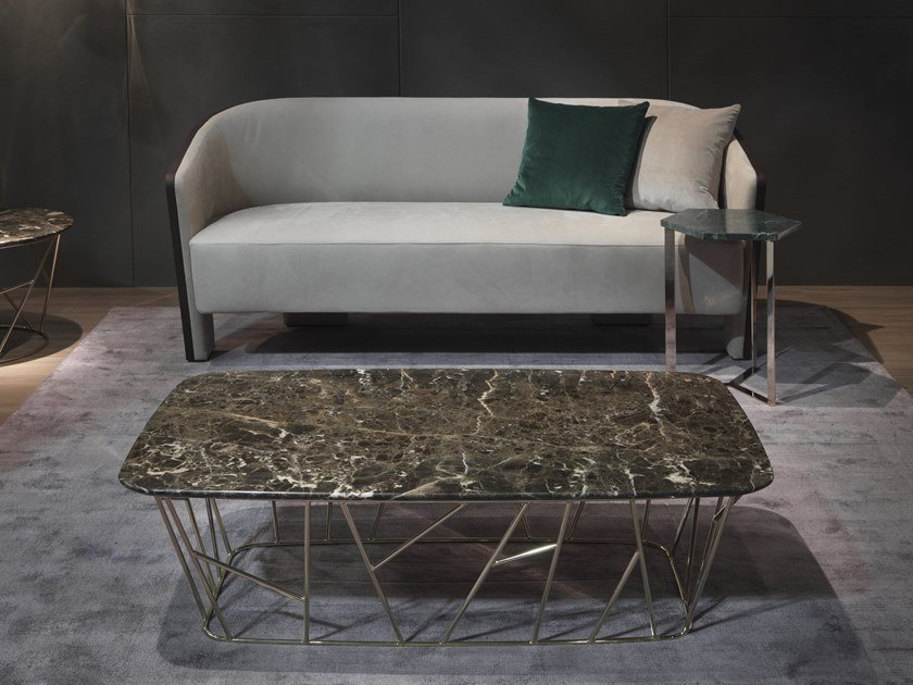 Low rectangular marble coffee table TWIG | Rectangular coffee table by Marelli